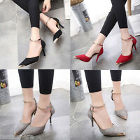 WOMENS LADIES HIGH HEEL POINT TOE STILETTO SANDALS ANKLE STRAP COURT SHOES SIZE