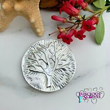 MAGNETIC BROOCH SCARF PIN CLIP, OFF WHITE & SILVER MULBERRY, TREE OF LIFE DESIGN