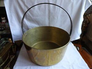 Large Vintage Brass Jam Pan Cast Iron Handle  Diameter 33 cm Height 36 cm 6.9 kg