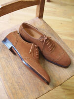 Handmade Wing Tip  Suede Leather Shoes, Men Oxford Lace Up Shoes For Men