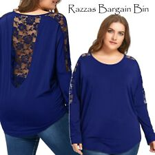 New Ladies Blue Lace Backed Top Plus Size 16/2XL (1303)QC
