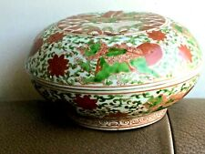 BEAUTIFUL ANTIQUE CHINESE HAND PAINTED PORCELAIN BOWL JEWELERY BOX W/ COVER
