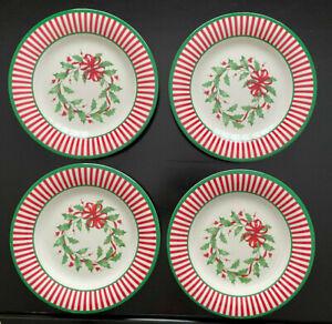 "Lenox Holiday Stripe Holly Wreath salad accent plates melamine 8"" set of 4 NEW"
