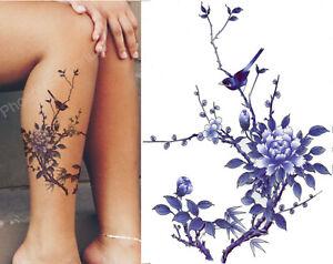 Temporary Tattoo Bird Tree Flower Blue Body Art Fake Waterproof Sheet Ladies