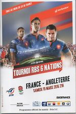 PROGRAMME RUGBY MATCH PROGRAM RBS 6 NATIONS 2016 : FRANCE - ANGLETERRE  ENGLAND