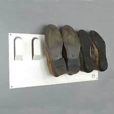 Wall Mounted 3 Shoe Storage Rack in White by The Metal House