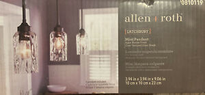allen + roth Latchbury 3.94-in Aged Bronze Country Cottage Mini Textured Glass C