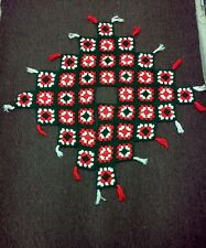 Lqqk - Beautiful Vintage Handmade Crochet Granny Square Christmas Tree Skirt