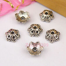100Pcs Tibetan Silver Flower Bead Caps 9mm A507