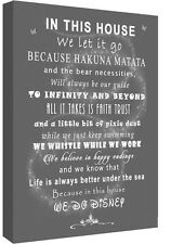We Do Disney In This House Quote on CANVAS WALL ART Picture Print Grey A0 A1 A2