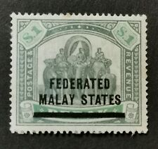 MALAYA STATES 1900 $1 SG11 HINGED MINT WITH TONED SPOTS CAT £200.