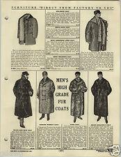1920 PAPER AD Men's Full Length Fur Coat Wombat Yep WOMBAT ! Dog Kangaroo Skin