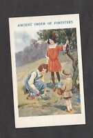Posted 1928 Birthday Card: Ancient Order of Foresters- Illustrated- Young Girls