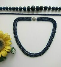 """Faceted Blue Sapphire Abacus Beads Necklace 16"""" - 22"""" - New."""