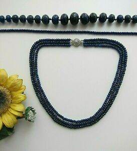 "Faceted Blue Sapphire Abacus Beads Necklace or Bracelet 16"" - 28""."