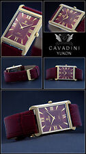 Long Pretty burgundy-ip Gold Plated Cavadini Designer Unisex Watch NEW