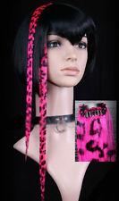 Extension cheveux à clipper clip paire gothique cyber punk métal léopard rose