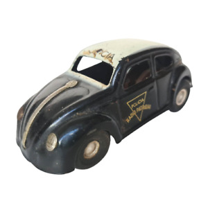 Rare 1960 Volkswagen VW Beetle Police Patrol Friction Tin Toy Car Estrela Brazil