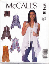 MCCALL'S SEWING PATTERN 7416 MISSES SZ 16-26 SHAPED HEM VESTS IN PLUS SIZES