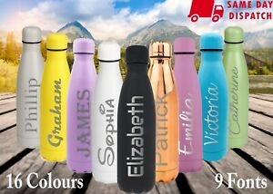 Personalised Water Bottle 500ml Stainless Steel Insulated Vacuum Chilly Flasks