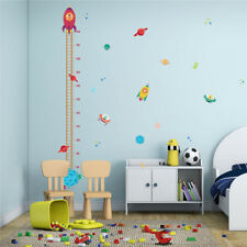 Pilot Rocket Growth Chart Outer Space Planet Height Wall Stickers For Kids Room