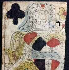 Authentic Historic Earliest of French Playing Cards Woodcut 17th Century Single