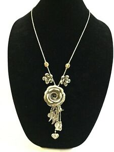 Karen Hill Tribe Hearts Fish Roses Sterling Silver Handmade Necklace