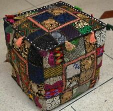 "18"" Indian Handmade Vintage Patchwork Ottoman Footstool Black Pouf Cover Square"