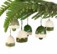 Handcrafted Wooden Christmas Tree Decor Bells Organic Green Color Six Piece
