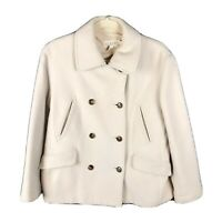 J. Crew Women Sz S Wool Cashmere Blend Double Breasted Peacoat Coat Jacket Ivory