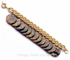 FAUX TORTOISE SHELL BROWN BLACK ACRYLIC CHARM Chunky Gold Chain Link Bracelet