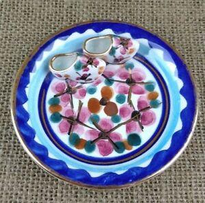Vintage Majolica Trinket or Ring Dish Holland w Klompen Wooden Shoes Blue Pink