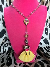 Betsey Johnson Viva La Betsey Sugar Skeleton Sacred Heart Rosary Style Necklace