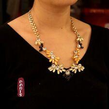 Halskette Blume unregelmäßige gelb schwarz Vintage Retro Original Abend Ehe QT