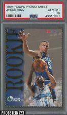 1994 Hoops Promo Sheet Jason Kidd PSA 10 POP 3 RARE RC Rookie