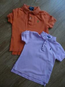 RALPH LAUREN POLO boys 2 pack t shirt tops orange pink AGE 2 - 3 YEARS 3T