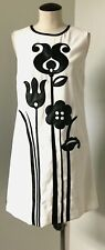VICTORIA BECKHAM FOR TARGET WOMEN'S MOD SHIFT DRESS WHITE BLACK TULIP PRNT SZ M