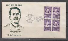"Philippine Stamps 1972 Cayetano Arellano ""G.O."" deleted Block of 4 FDC"