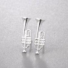 SILVER TRUMPET MUSICAL INSTRUMENT STUD EARRINGS