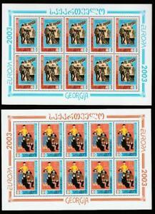 GEORGIA 2003 EUROPA CEPT POSTER ART Mi.420-21A MNH SHEETS SET