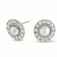 NEW Silvertone White Simulated Pearl & Clear Crystal Blossom Stud Earrings