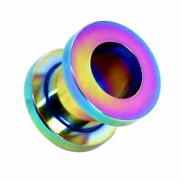 1x o Set Flesh Tunnel Plug Edelstahl zum Schrauben Rainbow 1,6 2 3 4 5 6 8 10 mm