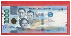 NEW Enhanced 2020 PHILIPPINES 1000 Peso NGC Duterte & DIOKNO Solid BR 666666 UNC