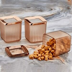Set of 3 Square Containers Airtight Food Storage Kitchen Accessories Copper