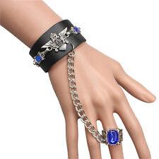 Anime Black Butler Sebastian Leather Bracelet Wristband + Ring Cosplay Gift Punk