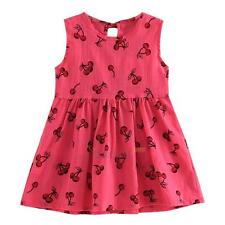 Toddler Kids Baby Girls Sundress Cherry Dress Princess Party Pageant Tutu Dress