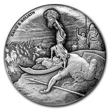 2015 Biblical Series David & Goliath 2 oz .999 Silver Antiqued Finish USA Coin
