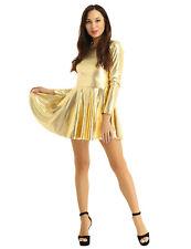 Women Ladies Shiny Metallic Dress  Leather Wetlook Party Clubwear Rave Dancewear