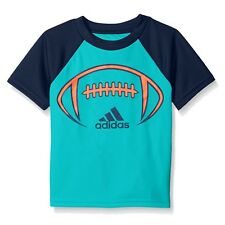 Adidas Little Boys Blue Football Climalite Athletic T-Shirt 4
