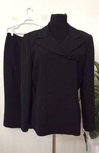 NWT Kasper Black Asymmetrical Bow Button 2 Piece Skirt Suit Size 16, MSRP $230